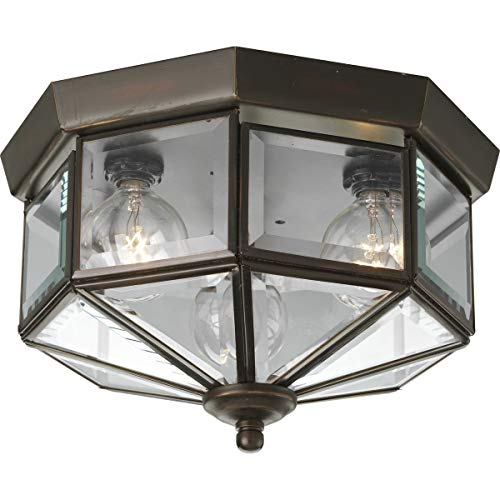 Progress Lighting P5789-20 Octagonal Close-to-Ceiling Fixture with Clear Bound Beveled Glass, Antique -