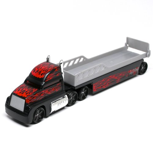 Auto Transports Flatbed (Black w/Flames) * On the Road Series * Maisto Highway Haulers 2010 Fresh Metal Die-Cast Tractor Trailer / Semi Truck Vehicle Collection