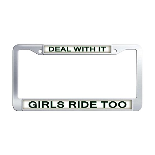 Dongsmer DEAL WITH IT GIRLS RIDE TOO Personalized License Plate Frame Stainless Steel Funny Auto License Plate Frame With 2-Holes and Mounting Screws