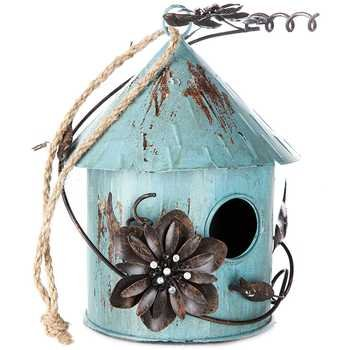 - Antique Blue Tin Birdhouse with Metal Flowers