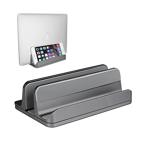 rsion) Vertical Laptop Stand, Desktop MacBook Stand Adjustable Laptop Holder (Up to 17.3 inch) for All MacBook Pro/Air, Microsoft Surface, Gaming Laptops, Lenovo (Gray) (Vertical Laptop Stand)