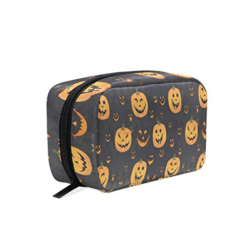 Cosmetic Bag Halloween Pumpkin Face Customized Square Organizer Portable Pouch Pencil Storage Case for Women/Girls