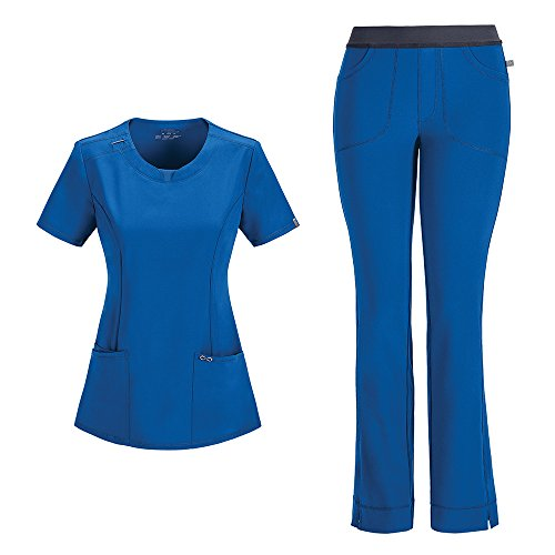 Cherokee Infinity Women's with Certainty Round Neck Top 2624A & Low Rise Pant 1124A Scrub Set (Antimicrobial) (Royal - Medium/Medium Tall)