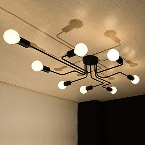 OYIPRO Moderno Candelabro Negro Lampara de techo 8 E27 para sala de estar Dormitorio Cocina