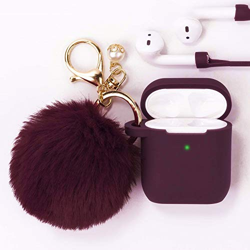 Filoto Airpods Case, Airpod Case Cover for Apple Airpods 2&1 Charging Case, Cute AirPods Silicone Protective Case with Airpods Accessories Keychain/Skin/Pompom/Strap 2019 Summer Series (Burgundy) (Hard White Ball Under Skin On Balls)
