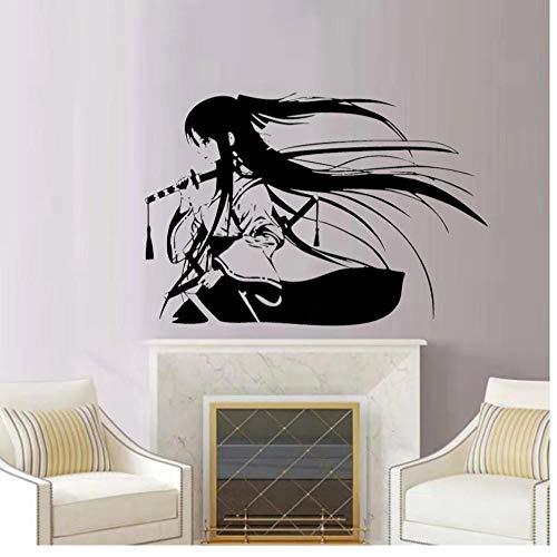 Samurai ese Katana Swords Anime pegatina de pared decorativa vinilo Interior decoracion del hogar calcomanias de habitacion Mural extraible 84x57cm