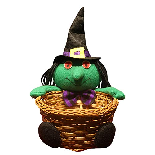 Hot Sale!DEESEE(TM)Doll Fruit Decoration Bowl Halloween Ghost Candy Basket Home Decor Hand-Woven (D)]()