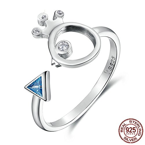Homemade T Costume Bird (T&T ring 925 Sterling Silver Adorable Bird Fish & Light Blue Rings Jewelry for Women Wedding Engagement Rings)