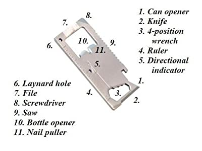 11-Tools-in-1 Stainless Steel Credit Card-Sized Survival Tool from ProTool