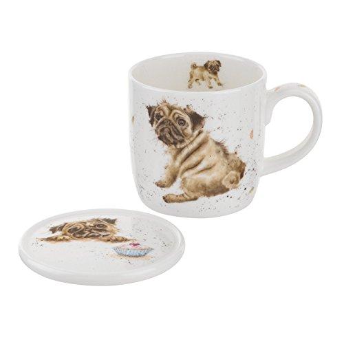 Wrendale Designs Royal Worcester Pug Love Mug & Coaster Set