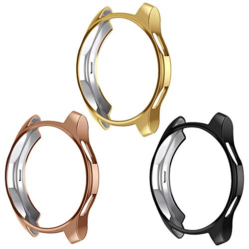 Case Compatible for Samsung Galaxy Watch 42mm 46mm, NaHai TPU Slim Plated Case Scratch-Proof Cover All-Around Protective Bumper Shell for Galaxy Watch (3 Pack Black,Gold,Rose Gold, (46mm) SM-R800) (Compatible Multi Color Pack)