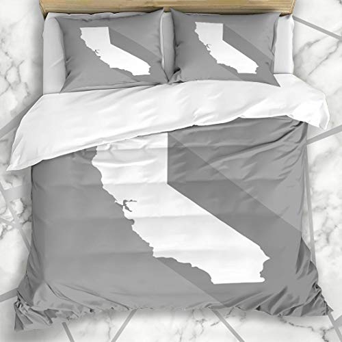 Ahawoso Duvet Cover Sets King 90x104 American Gray Map California White Mapborder Flat Grey Simple Abstract America Angeles Californian Microfiber Bedding with 2 Pillow Shams