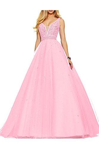 Abschlussballkleider Braut Rosa Orange Abendkleider Abiballkleider V Damen Promkleider Ausschnitt Pailletten mia La fqBn1Tzwq