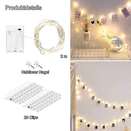 aifulo LED Foto Lichterkette,Foto Clip Lichterketten 2M 20 LED Warmes Gelb ,LED Fotoclips Lichterkette Dient zum Dekorieren von Zimmern, Wohnzimmern, Weihnachten, Hochzeiten und Partys-Batteriebetrieb