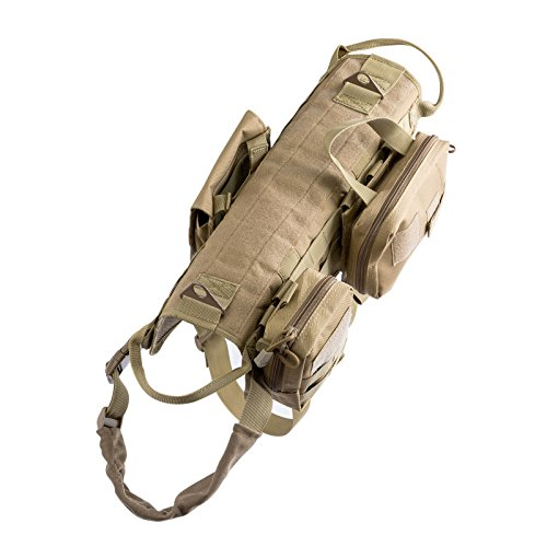 Vevins Dog Tactical Service Harness Training Molle Vest Adjustable Camouflage Harness with 3 Detachable Pouches well-wreapped