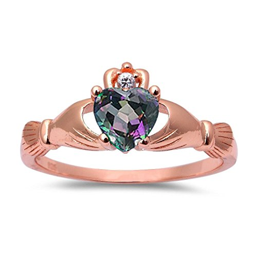 Accent Heart Promise Claddagh Ring Rainbow Cubic Zirconia Round CZ Rose Tone Plated 925 Sterling Silver, Size-6