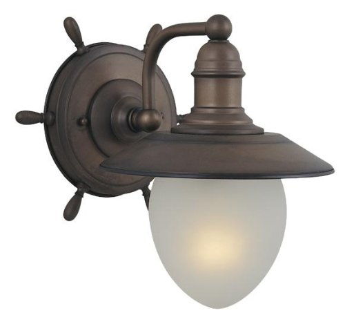 Vaxcel Lighting WL25501RC Nautical - Indoor One Wall Mount, Antique Red Copper Finish with Frosted Glass Antique Copper Outdoor Wall Mount