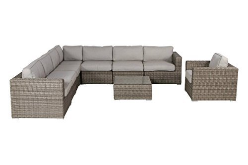 Living Source International Patio Furniture,9 Piece Wicker Rattan Sectional Set with Cushions [CM-1076] (9 Piece Cup Holder, Verona Grey) (Verona Sectional)