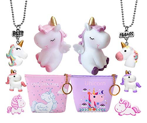 2 Sets Unicorn Party Supplies - Coin Purse, Squeaky Toys, Best Friends Necklaces, Brooch Pins, Sharing Gifts -