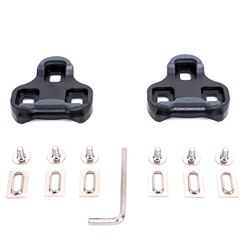 VINQLIQ 9 Degree Bike Bicycle Cycling Pedal Cleats Set Self-locking Plate Delta SPD-SL Float Compatible Lightweight Durable with Screws, Gaskets and Screwdriver for Road Bike SPD Shoes and Pedal ()