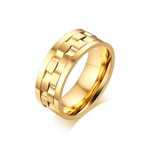 Zealmer Men's Gold Plated Stainless Steel Rotatable Stylish Brick Double Gear Shaped Spinner Rings -