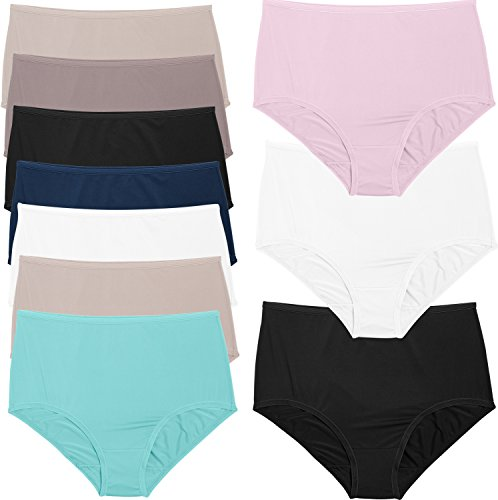 Fruit of the Loom Women's Microfiber 10 Pack Brief Panties (Microfiber Spandex Panties)