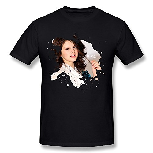 Selena Gomez Mens Shirts,Black Crew Neck Tee Size M