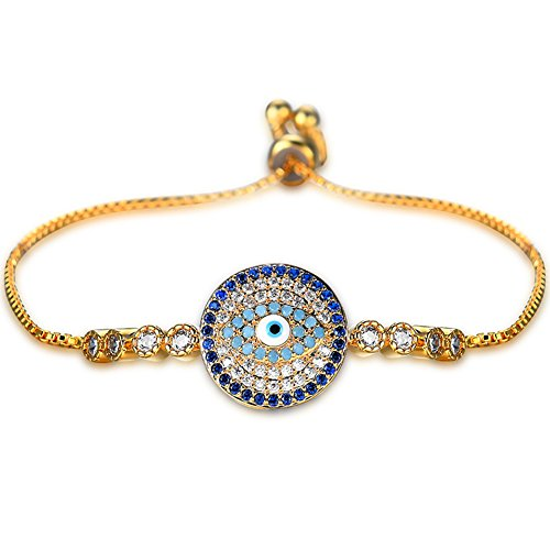 Horror Halloween Gold Plated Evil Eye Round Clear Cubic Zirconia Crystal Chain Bracelet Expandable Wire Bangle Bracelet for Women Girls