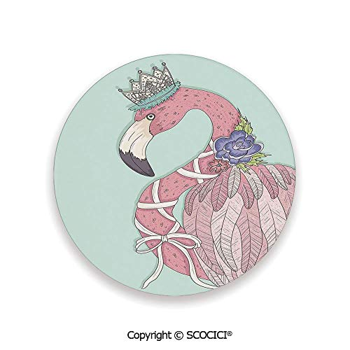 (Coaster For Drinks With Vibrant Colors And Cork Backing, Ceramics with cork bottom, Circle area coaster,Flamingo,Cute Flamingo Flower Crown Ribbon Fairytale,3.9