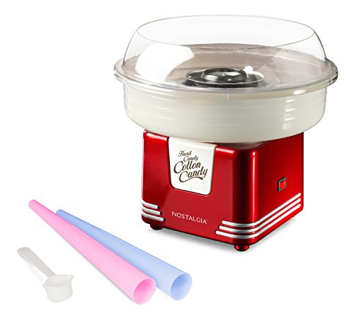 Jolly Cotton - Nostalgia PCM405RETRORED Retro Series Hard & Sugar-Free Cotton Candy Maker, 11.5 x 11.5 x 10.75, Red