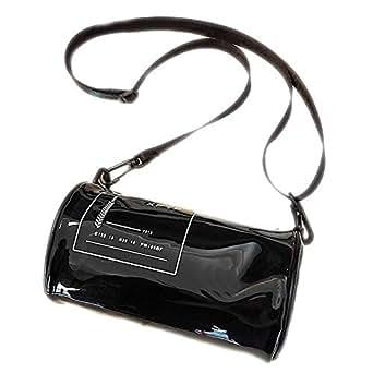 TOOGOO Transparent Pvc Printed Letter Cylinder Shoulder Bag Ladies Transparent Jelly Beach Bag Ladies Messenger Bag Black