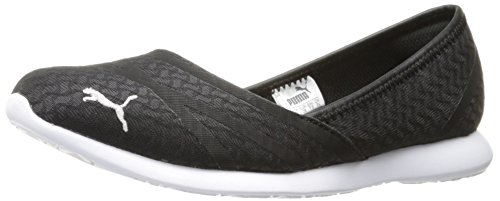 PUMA Women's Vega Ballet Flume Walking Shoe, Black Silver, 8.5 M US