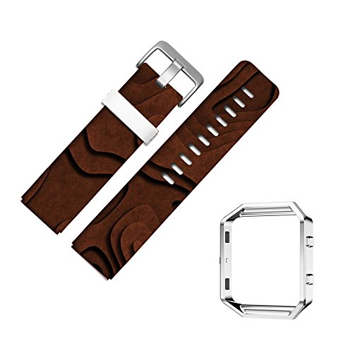 For Fitbit Blaze Accessory Band for Women Men, Frame Housing+Genuine Leather Art Pattern Replacement Strap for Fitbit Versa Fitness Wristband-436.Chipboard