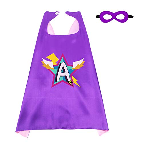 Kids Superhero Cape Mask for Girls with 26 Initial Letters Hero Party -