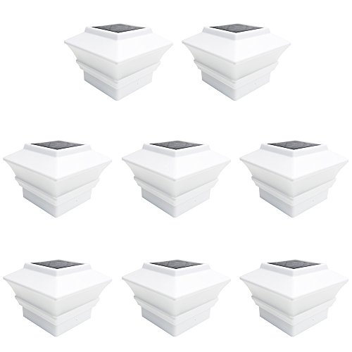 iGlow 8 Pack White Outdoor Garden 4 x 4 Solar LED Post Deck Cap Square Fence Light Landscape Lamp Lawn PVC Vinyl Wood (Fence Lamp)