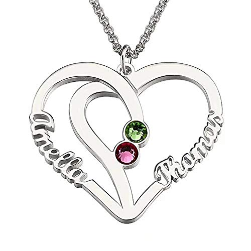 DXYAN Personalized Name Necklace Custom Couples Name Necklace Pendant with Birthstones(Rose Gold|16.0 inches)