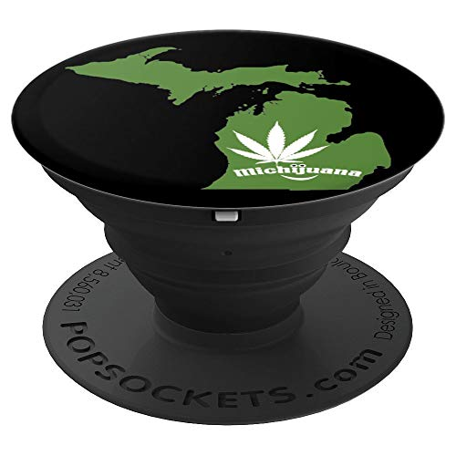 (Michigan Pot Leaf 420 Marijuana Weed Michijuana - PopSockets Grip and Stand for Phones and Tablets )
