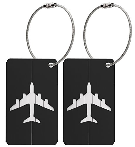 2x Luggage Baggage Tags with Name and Address Label - Black Metallic