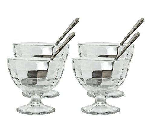 Generic Clear Glass Footed Dessert Bowls with 4 Stainless Steel Spoons by Generic