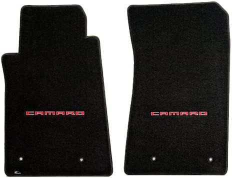 2010-2015 Camaro Ebony Black Ultimat 2pc Floor Mats - CAMARO Logo in Red 41JoOuq8Q1L