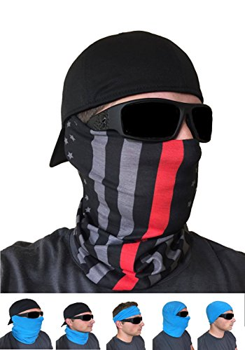 FACE MASK | Thin Red Line | Fire Appreciation | Used as a Shield for elements, Sun Protection Neck Gaiter Balaclava Bandanna