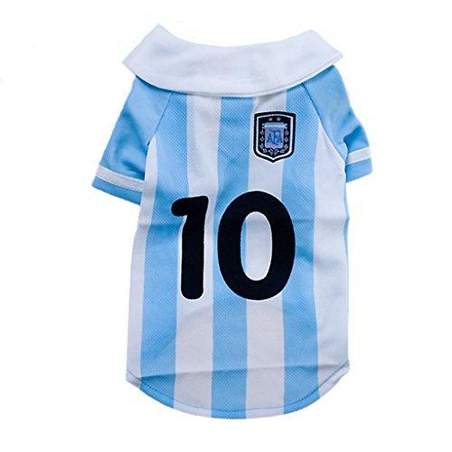 Clary Copa Mundial de la FIFA 2018 Camiseta de fútbol para Mascotas Camiseta de Perro Jersey para Agentina Sport Jersey...