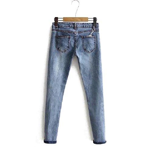 Lunghi Blu Fit Jeans Matita Vita Pantaloni Eleganti per Cerniera Pantaloni Streetwear Denim Slim Comode Media in Elastico Skinny A Strappato Donna pRxpXqa