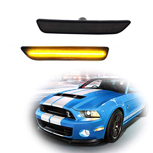 GTINTHEBOX (2) Smoked Lens Front Side Marker Lamps w/Amber LED Lights Lamps For 2010-2014 Ford Mustang front bumper