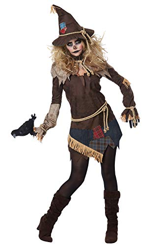 Scarecrow Halloween Costume Homemade (California Costumes Women's Creepy Scarecrow Adult Woman Costume, Brown,)