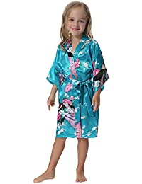 526f8916e8 Girls  Peacock Satin Kimono Robe Bathrobe Nightgown Party Wedding
