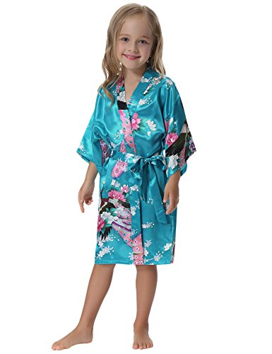 Aibrou Girls' Peacock Satin Kimono Robe Bathrobe Nightgown For Party Wedding,6,Lake Blue by Aibrou