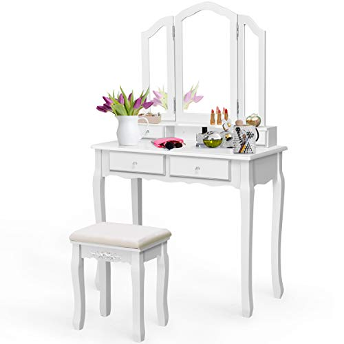 - Giantex Tri Folding Mirror Bathroom Vanity Makeup Table Stool Set Home Furni with 4 Drawers (White)