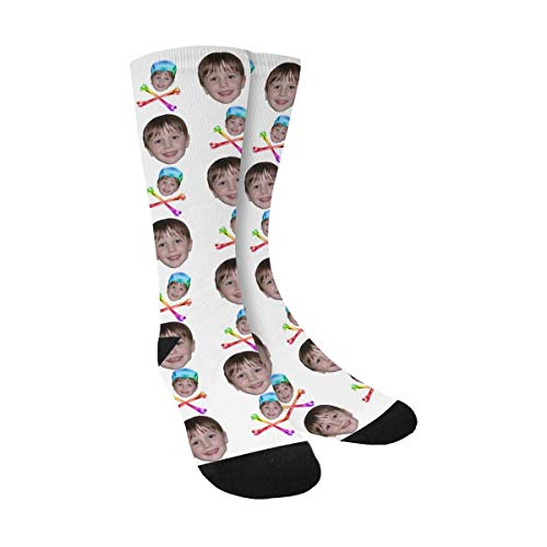 Custom Personalized Photo Faces Socks white Novelty Print Sublimated Crew Socks (White Men Looking For Black Women To Marry)