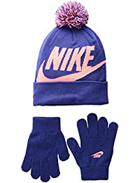 5b83f188d5e Kids  Nike Swoosh Pom Beanie Hat and Gloves Set